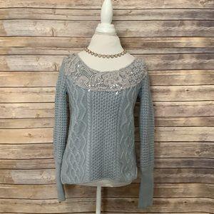 Free People blue knit gemstones sweater S